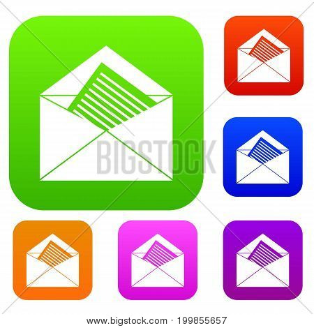 Open envelope with sheet of paper set icon in different colors isolated vector illustration. Premium collection