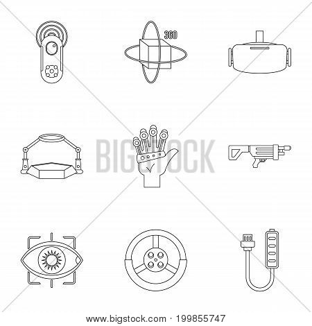 VR game equipment icons set. Outline set of 9 VR game equipment vector icons for web isolated on white background