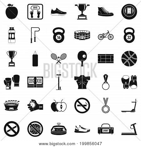Boxing icons set. Simple style of 36 boxing vector icons for web isolated on white background