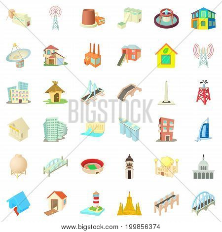 Building icons set. Cartoon style of 36 building vector icons for web isolated on white background