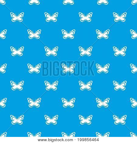 Small butterfly pattern repeat seamless in blue color for any design. Vector geometric illustration