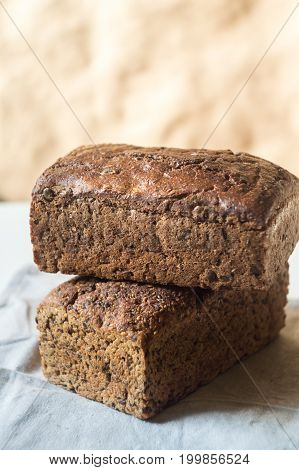 Two loaves of rye bread food closeup