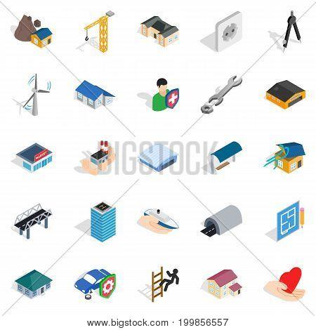 Fabric icons set. Isometric set of 25 fabric vector icons for web isolated on white background
