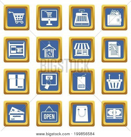 Shopping icons set in blue color isolated vector illustration for web and any design