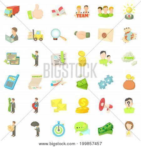 Business career icons set. Cartoon style of 36 business career vector icons for web isolated on white background