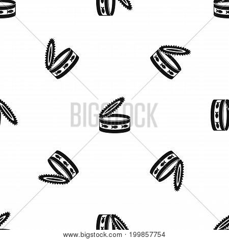Canned food for cat pattern repeat seamless in black color for any design. Vector geometric illustration