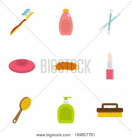 Bathroom equipment icons set. Flat set of 9 bathroom equipment vector icons for web isolated on white background