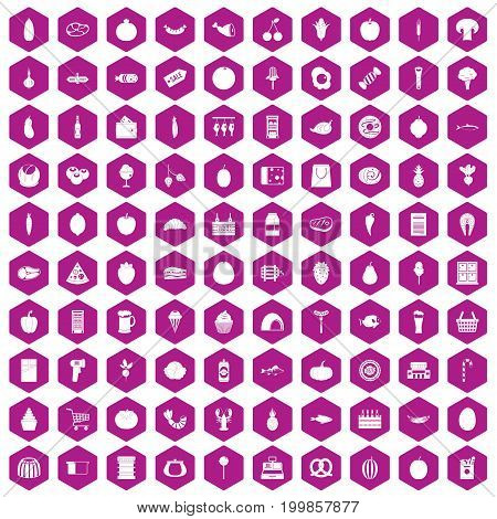 100 grocery shopping icons set in violet hexagon isolated vector illustration