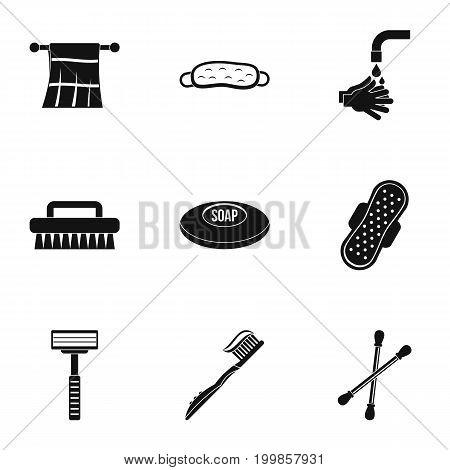 Bathroom equipment icons set. Simple set of 9 bathroom equipment vector icons for web isolated on white background