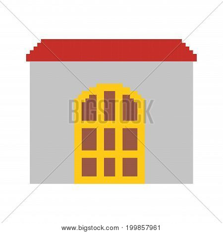 colorful pixelated house with roof and big door vector illustration