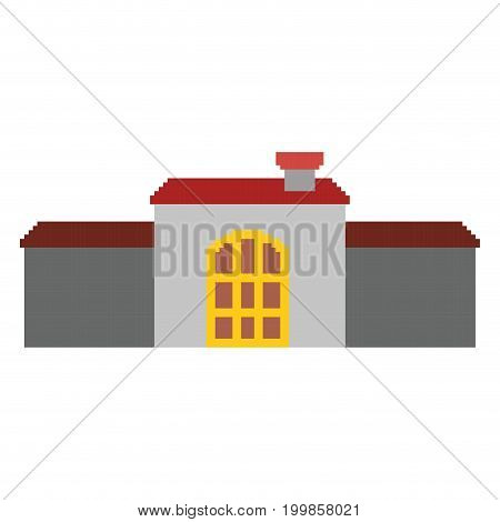 colorful pixelated castle house with roof and big door vector illustration