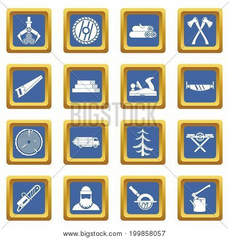 Timber industry icons set in blue color isolated vector illustration for web and any design