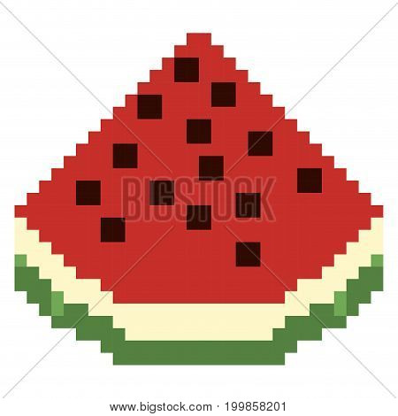 colorful pixelated piece of watermelon fruit food vector illustration