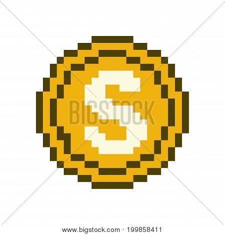 colorful pixelated coin with money symbol vector illustration