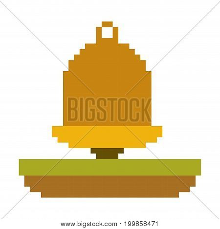 colorful pixelated golden bell element over grass vector illustration