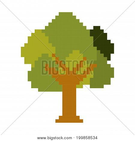 colorful pixelated tree with ramifications and leaves vector illustration
