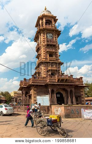 JODHPUR RAJASTHAN INDIA - MARCH 04 2016: Vertical picture of the beautiful Victorian Clock Tower in Jodhpur the blue city of Rajasthan in India.