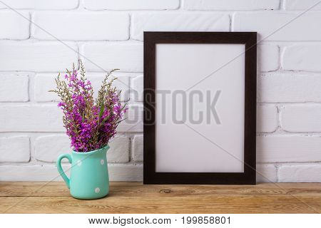 Black Brown  Frame Mockup With Maroon Purple Flowers In Mint Pitcher