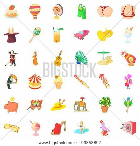 Carnival icons set. Cartoon style of 36 carnival vector icons for web isolated on white background