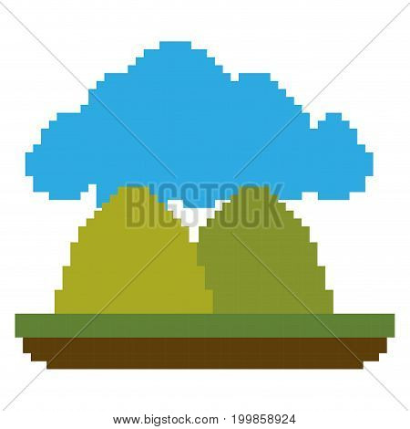 colorful pixelated forest landscape in meadow with mountains and cloud vector illustration