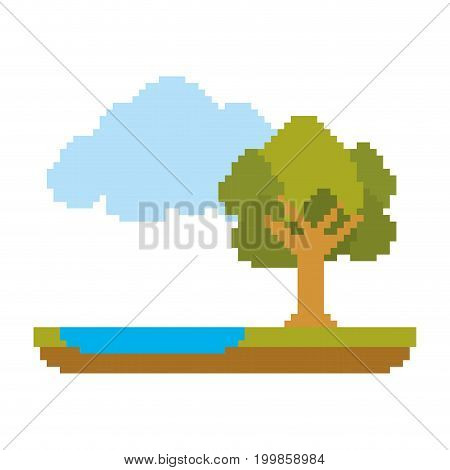 colorful pixelated forest landscape in meadow with tree next to the river and cloud vector illustration