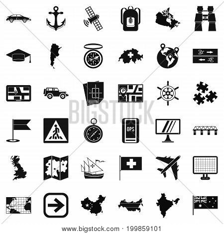 Cartography icons set. Simple style of 36 cartography vector icons for web isolated on white background