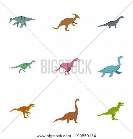 Dinosaur icons set. Flat set of 9 dinosaur vector icons for web isolated on white background