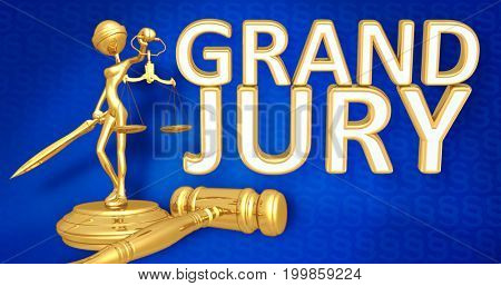 Grand Jury Law Concept Lady Justice The Original 3D Character Illustration
