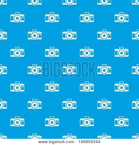 Photocamera pattern repeat seamless in blue color for any design. Vector geometric illustration