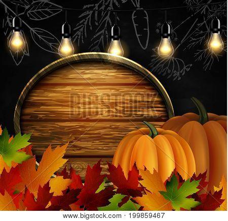 Chalkboard with autumn leaves cozy patio lights and two orange pumpkins and wooden board for your message vector