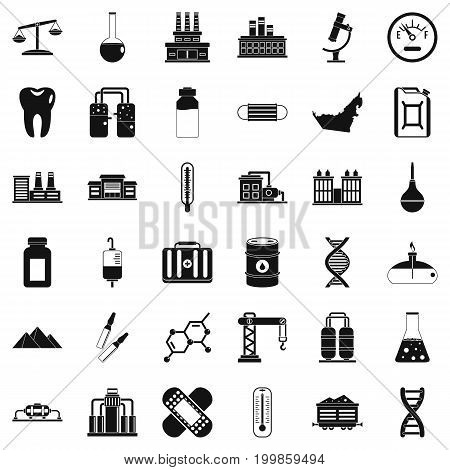 Chemical industry icons set. Simple style of 36 chemical industry vector icons for web isolated on white background