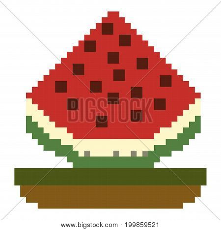 colorful pixelated watermelon fruit in meadow vector illustration