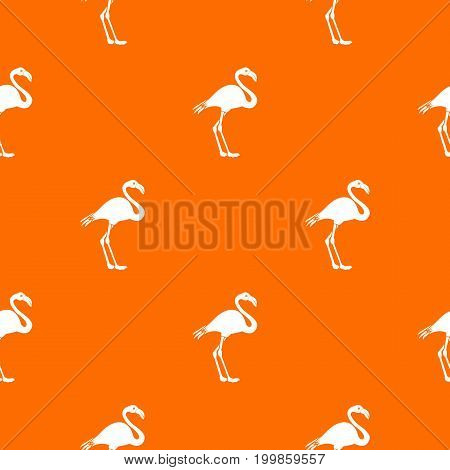 Flamingo pattern repeat seamless in orange color for any design. Vector geometric illustration