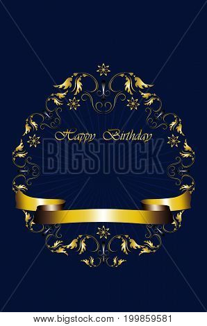 Greeting card with gold frame of leaves with stars and Happy Birthday on radiant blue background