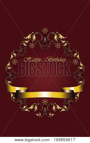 Greeting card with gold frame of leaves with stars and Happy Birthday on radiant red background