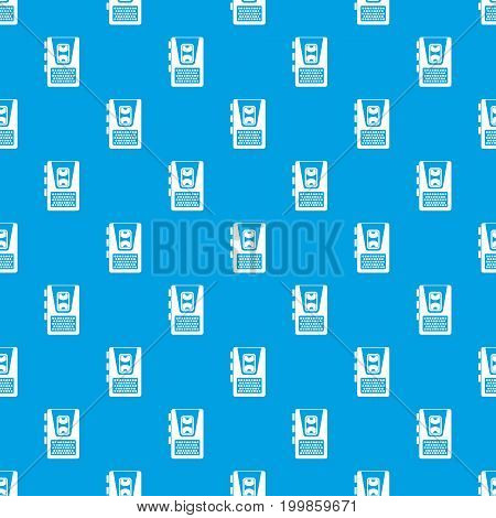 Dictaphone pattern repeat seamless in blue color for any design. Vector geometric illustration