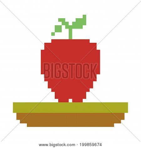 colorful pixelated apple fruit in meadow vector illustration