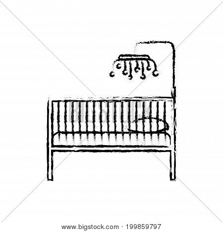 monochrome blurred silhouette of baby crib with wood railing vector illustration