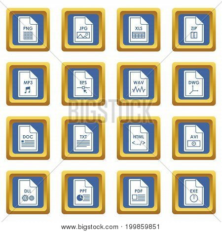 File format icons set in blue color isolated vector illustration for web and any design