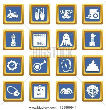 April fools day icons set in blue color isolated vector illustration for web and any design