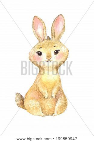cute brown rabbit watercolor illustration isolated on white. Drawing suitable for sticker poster or invitation for children's birthday