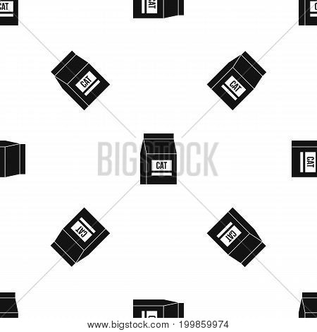 Cat food bag pattern repeat seamless in black color for any design. Vector geometric illustration