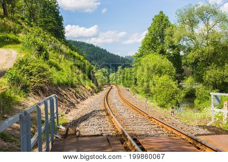 Railroad travel, railway tourism. Industrial concept background and Transportation.
