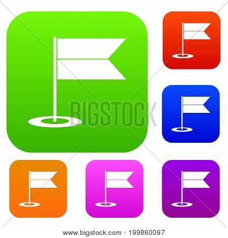 Locator flag set icon in different colors isolated vector illustration. Premium collection