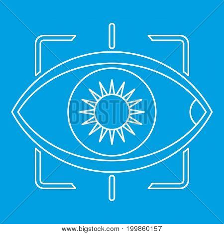 Eye with integrated camera lens icon blue outline style isolated vector illustration. Thin line sign