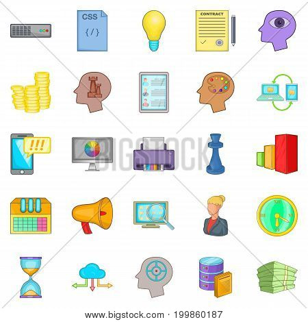 Agency icons set. Cartoon set of 25 agency vector icons for web isolated on white background