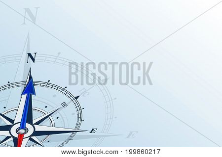Compass north. Compass with wind rose, the arrow points to the north. Compass on a blue background. Compass illustrations can be used as background. Flat background with copy space. Travel concept.