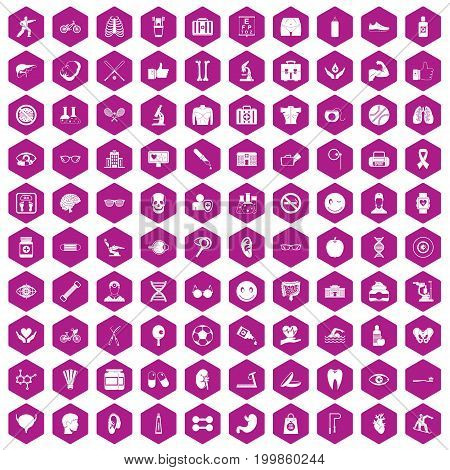 100 health icons set in violet hexagon isolated vector illustration