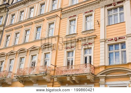 Colourful Facade of a building in Karlovy Vary