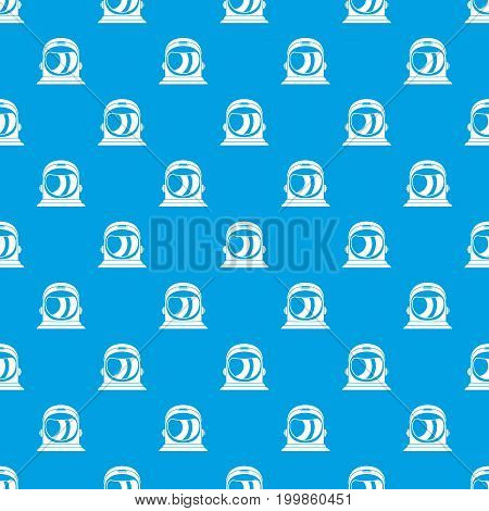 Space helmet pattern repeat seamless in blue color for any design. Vector geometric illustration